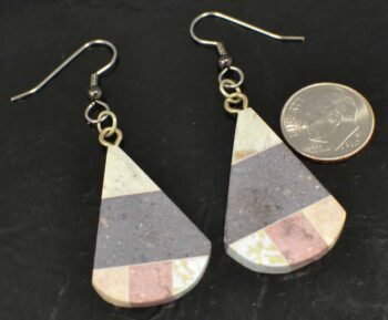 combarbalita mosaic drop earrings with dime for size