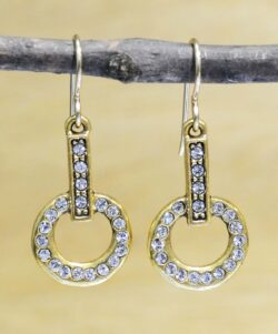 "Committed gold tone earrings in color ""All Crystal"" by Patricia Locke"