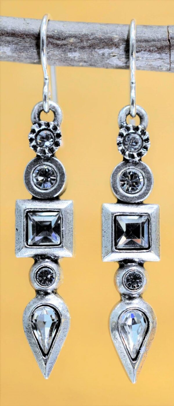 Patricia Locke Concord silvertone drop earrings in All Crystal