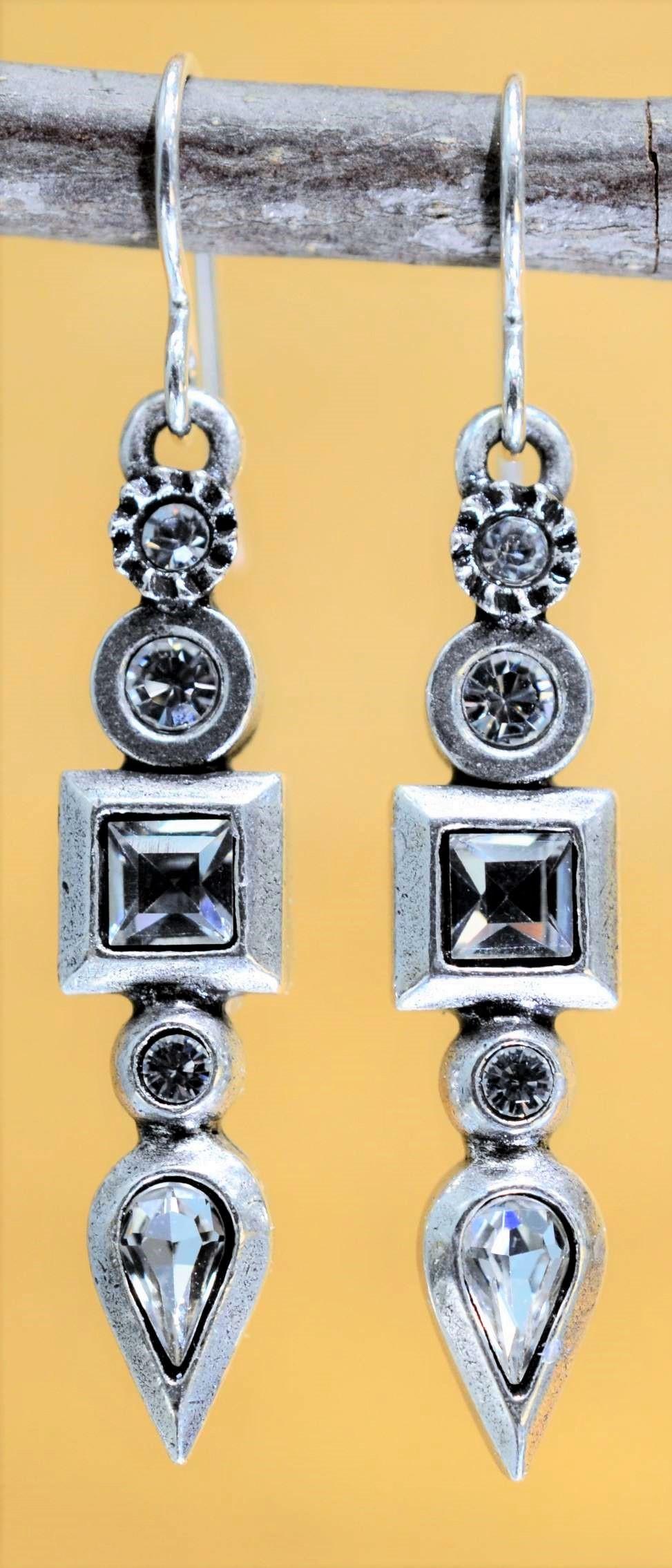 Patricia Locke Concord silvertone drop earrings in All Crystal