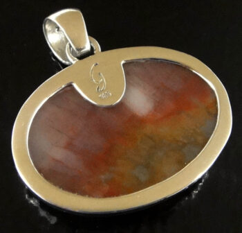 back of petrified wood and sterling silver pendant