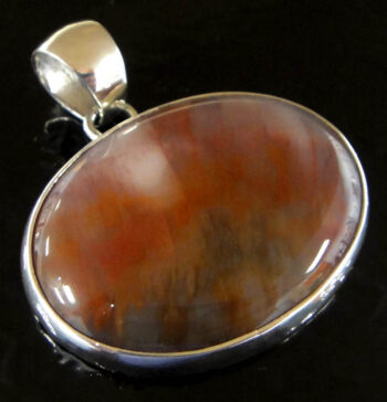 handmade petrified wood and sterling silver pendant