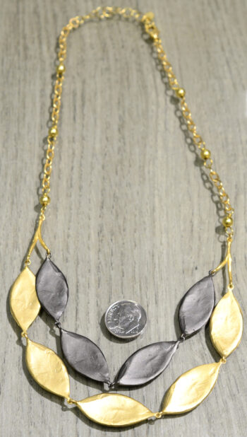 Michael Michaud Silver Seasons cordyline layered necklace back view, shown with dime (not included) for scale