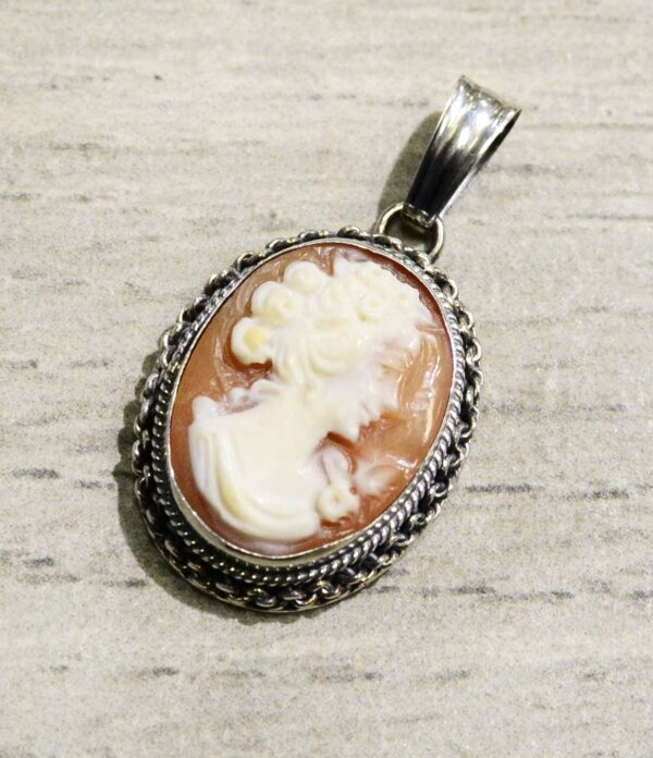 Hand carved cornelian shell woman with flowers cameo pendant