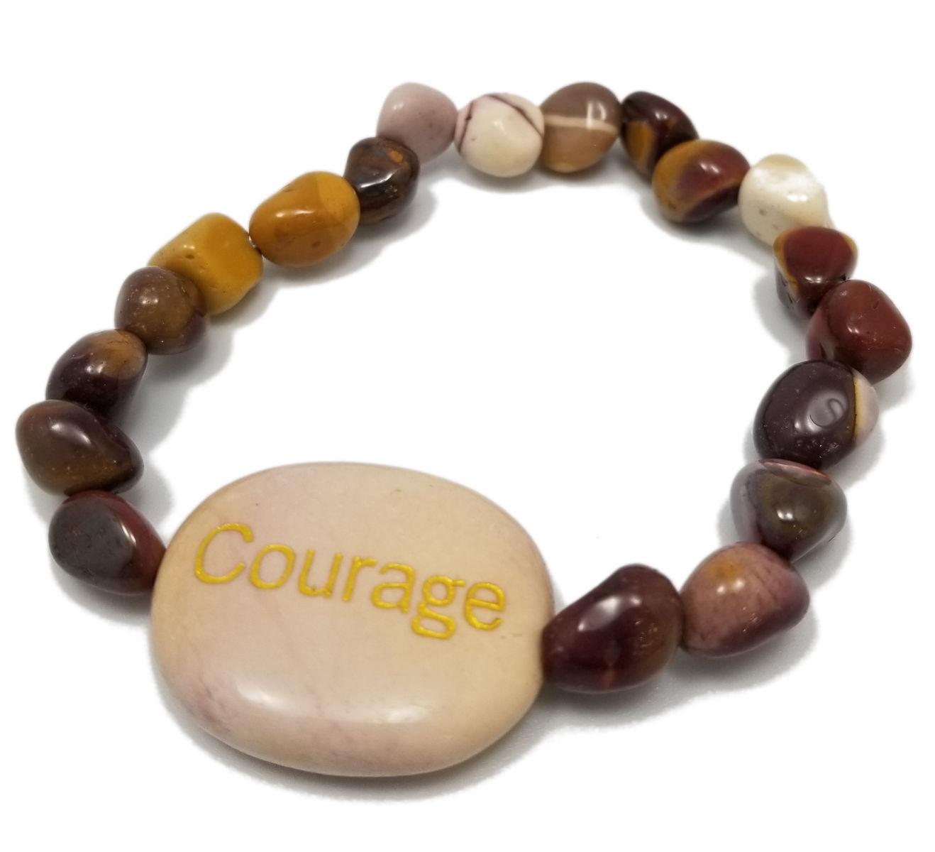 """Mookaite jasper """"Courage"""" gemstone stretch bracelet"""