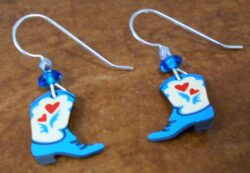 These blue cowgirl boot earrings are handmade by Sienna Sky.