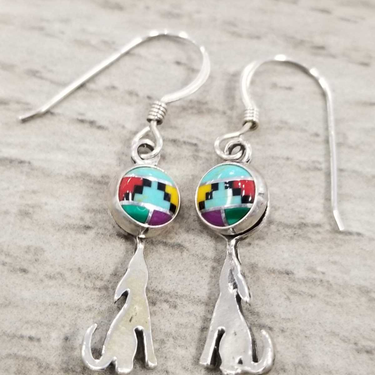 southwestern style stone inlay earrings with coyote