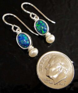 black opal and freshwater pearl oval drop earrings