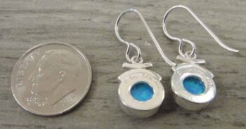 Back of created blue opal and sterling silver dangle earrings handmade by Sonoma Art Works pictured with dime for scale