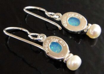 Back of created blue opal and pearl earrings