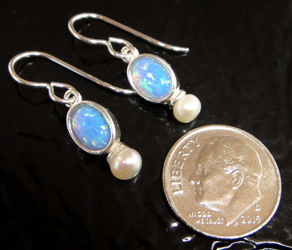 Pearl and Lab Created Blue Opal Earrings
