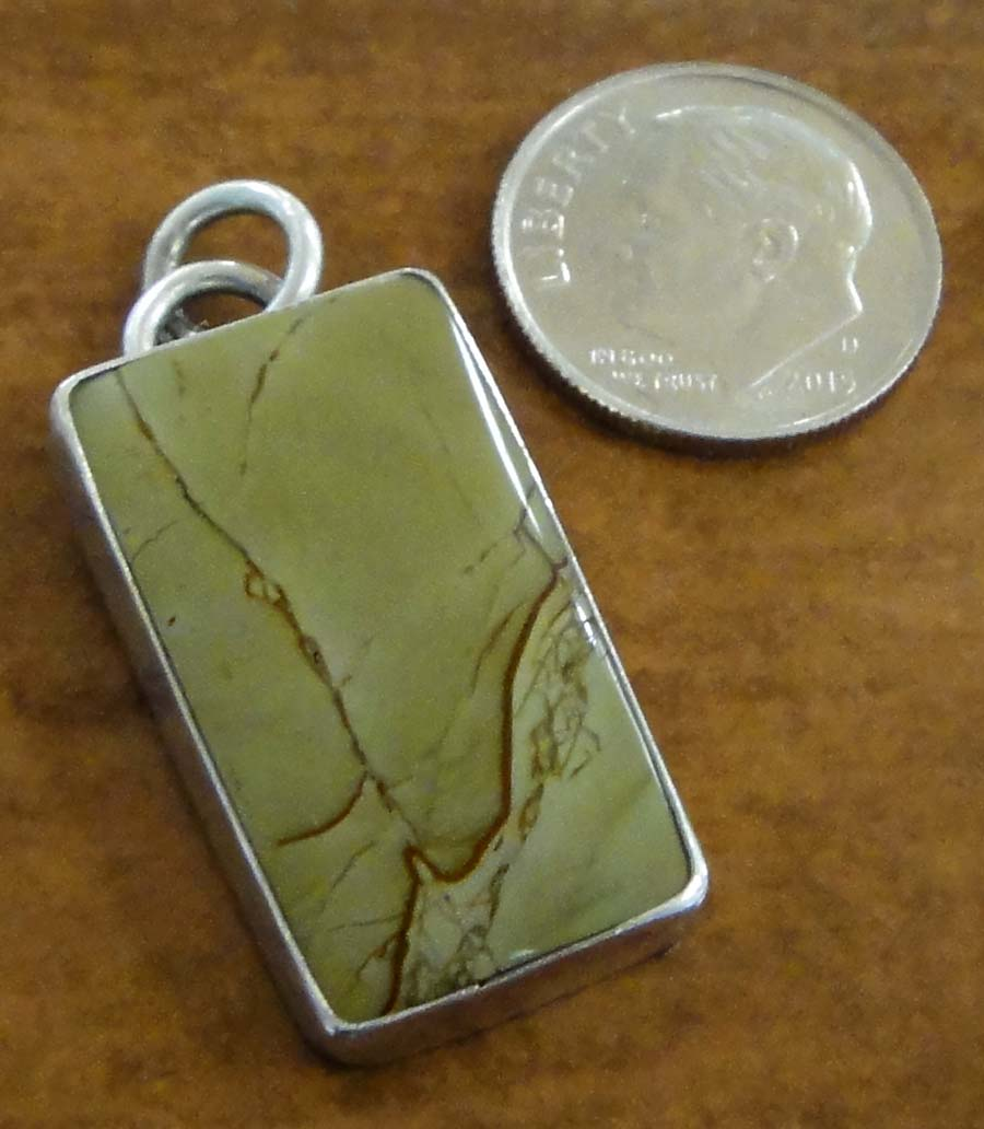Cripple Creek Jasper and sterling silver pendant by Dale Repp with dime for size