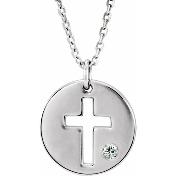 sterling silver cross with diamond necklace