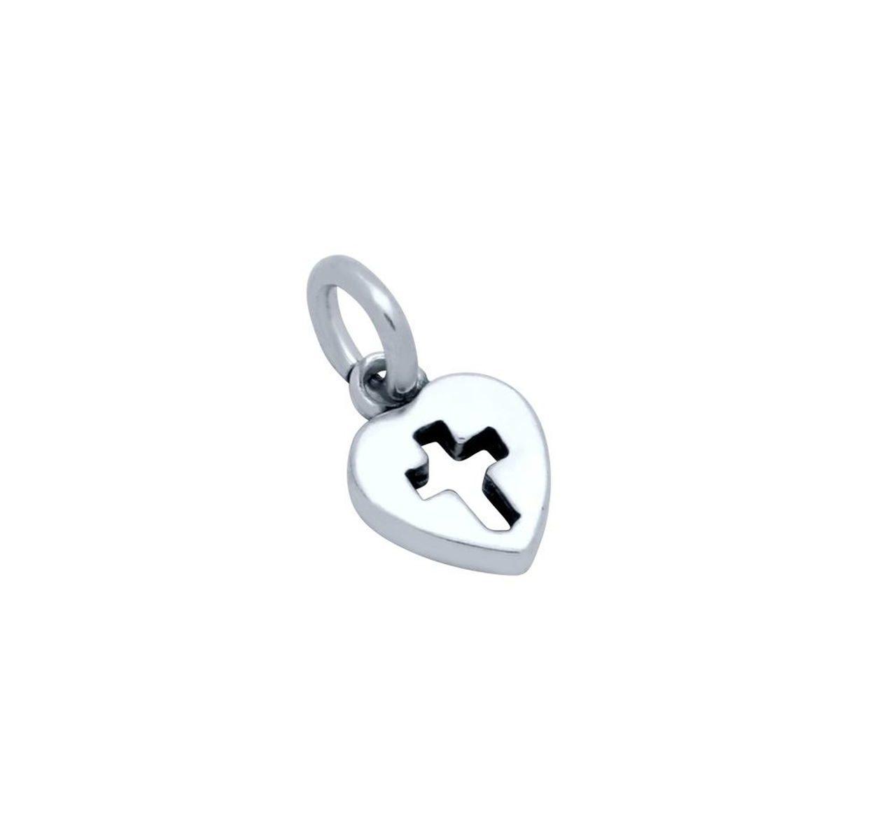 cross in heart sterling silver charm