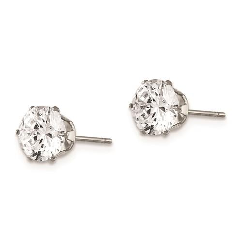 7 MM cubic zirconia stainless steel post earrings