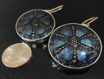 czech glass dark blue earrings with dime