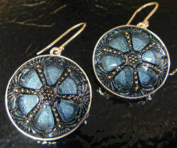 czech glass dark blue earrings