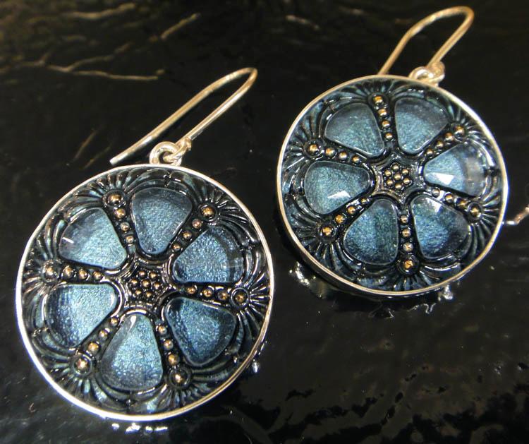 czech glass dark blue earrings