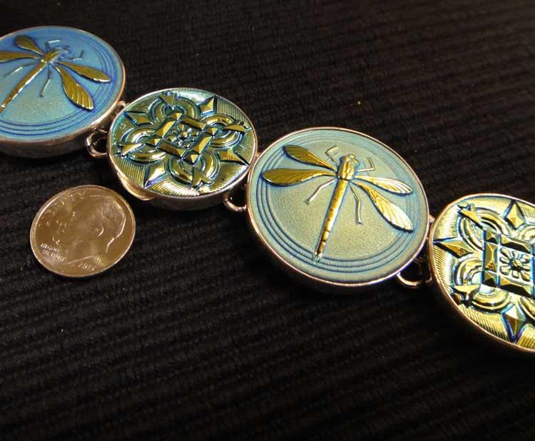 handmade czech glass button dragonfly bracelet