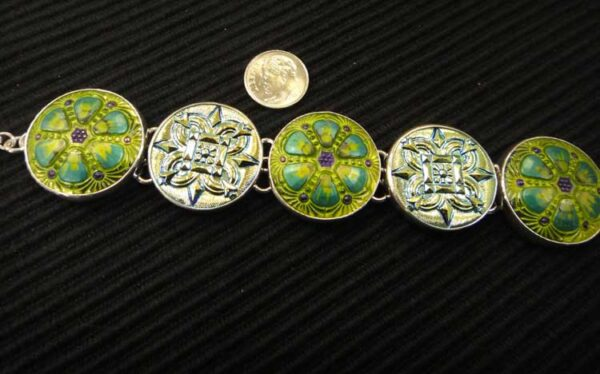 green Czech glass button bracelet with dime for size