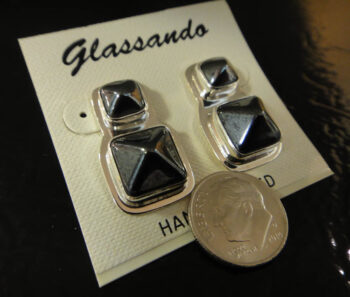 3D gray pyramids and sterling silver post earrings with dime for size