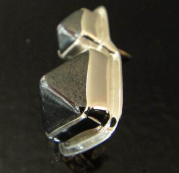 side of 3D czech glass pyramids earrings