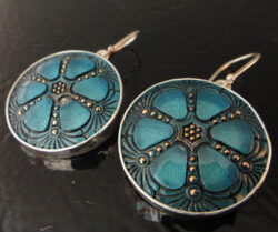 czech glass teal earrings in sterling silver