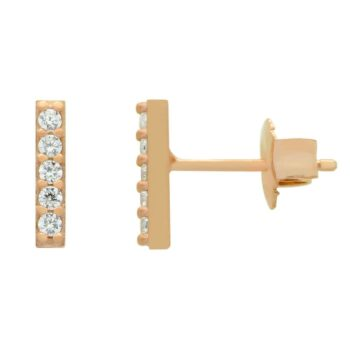 cubic zirconia rose gold plated sterling silver post earrings