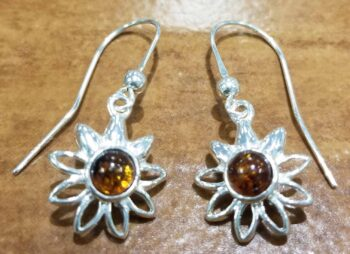 Baltic amber daisy earrings