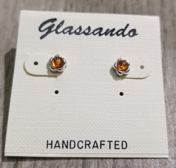 Honey brown Baltic amber daisy earrings