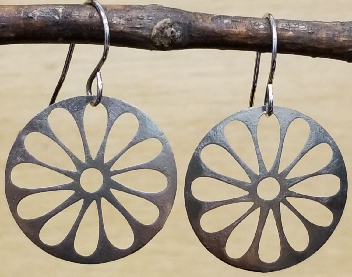 Joseph Brinton silver-tone daisy dangle earrings