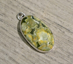 Handmade rainforest jasper and sterling silver pendant