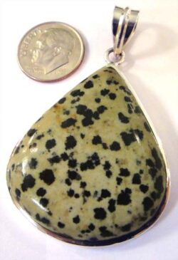 handmade Dalmatian jasper and sterling silver pendant with dime for size