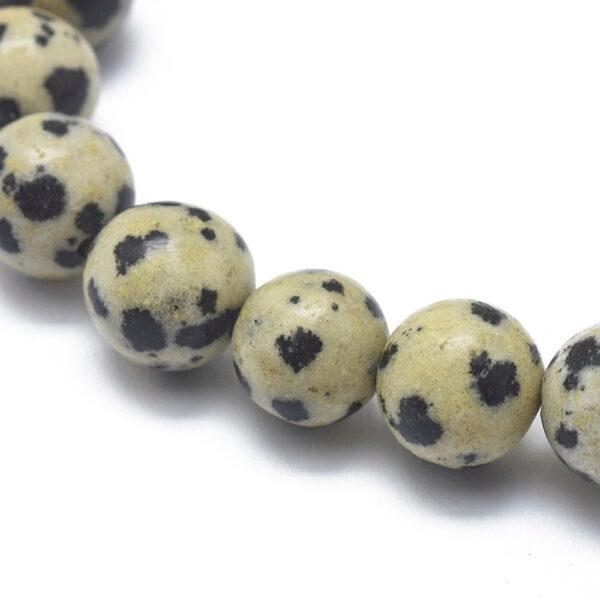 close up of Dalmatian jasper beads, used in stretch bracelet