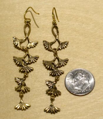 Second Nature jewelry long dandelion inspired dangle earrings