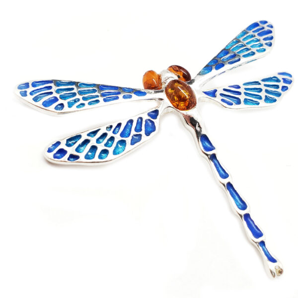 dragonfly pendant with amber and blue enamel