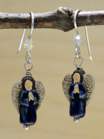 handmade dark blue angel earrings