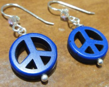 handmade dark blue peace sign, crystal, and sterling silver earrings