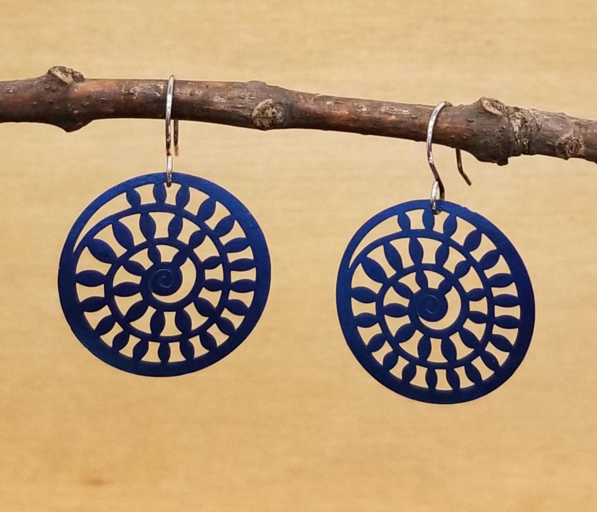Dark blue spiral earrings by Joseph Brinton
