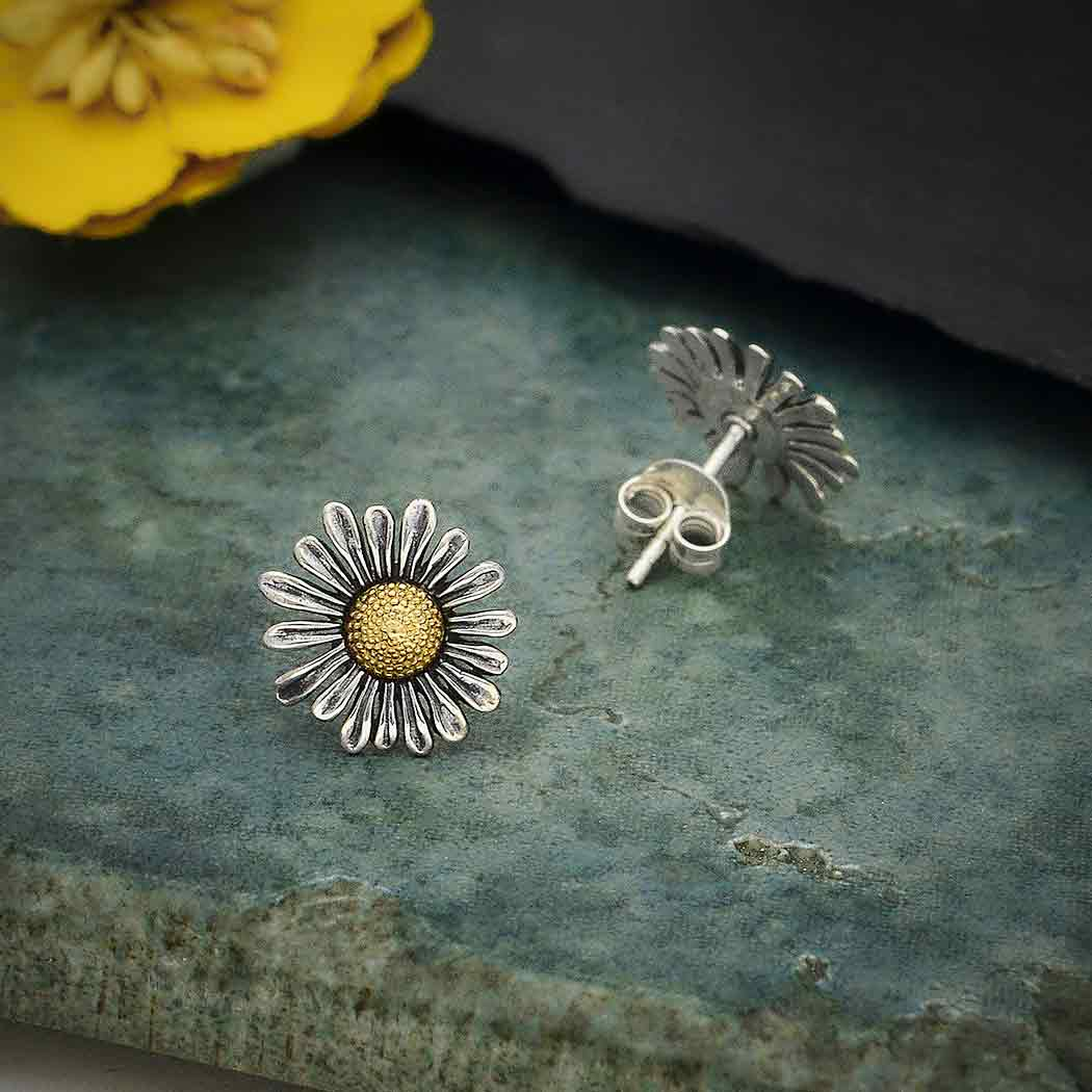 sterling silver and bronze daisy earrings