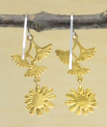 back of Michael Michaud Deco Daisy dangle earrings