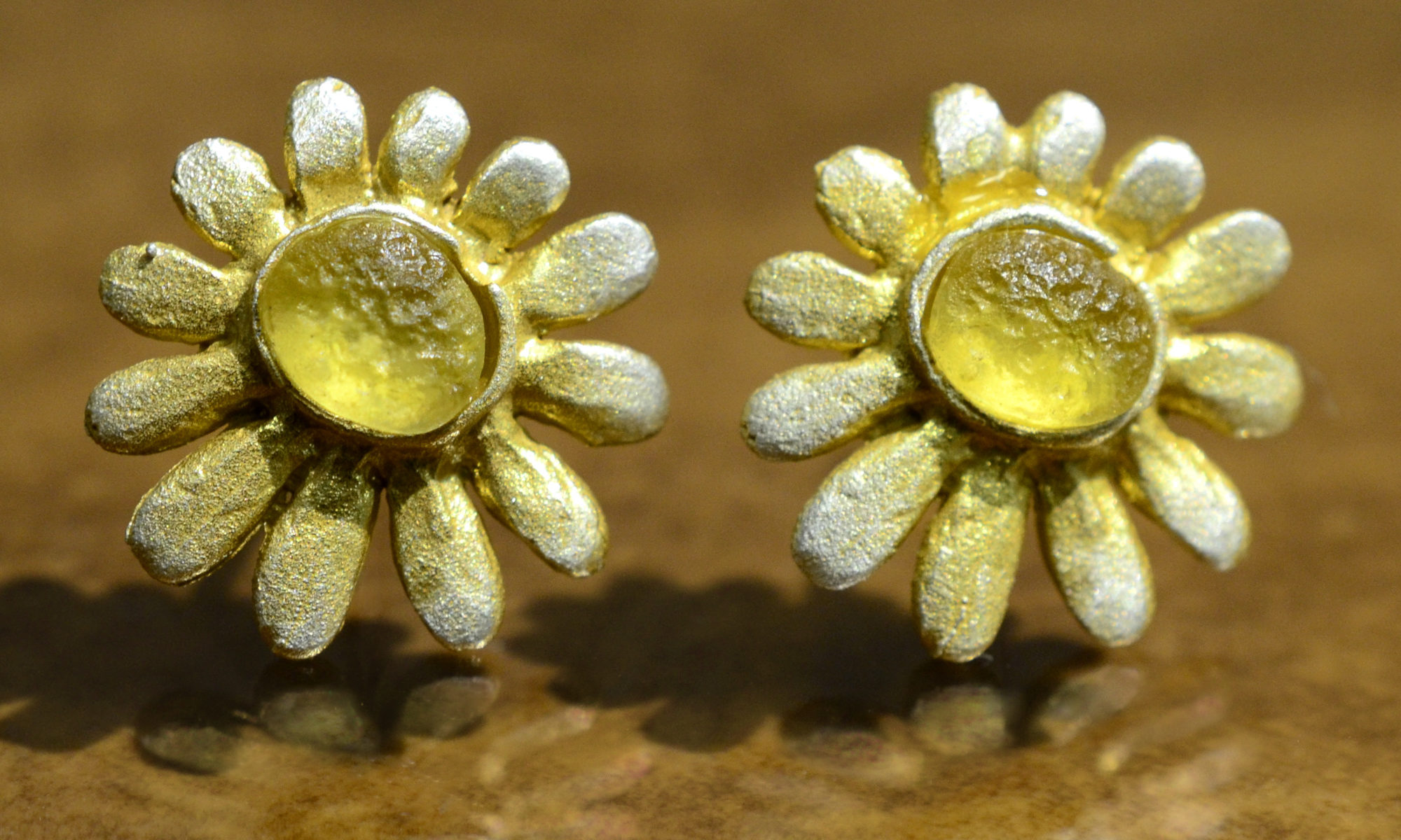 Michael Michaud Deco Daisy bronze and cast glass stud earrings