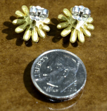 back of Michael Michaud Deco Daisy stud earrings with dime