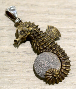 handmade dental ceramic carved seahorse and gray druzy pendant