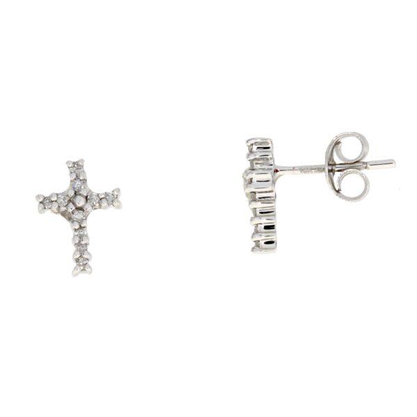 .04 CTW Diamond and 10K white gold cross stud earrings