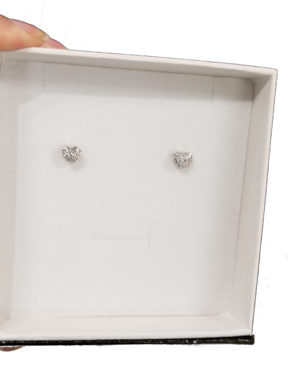 diamond accented sterling silver post earrings in box