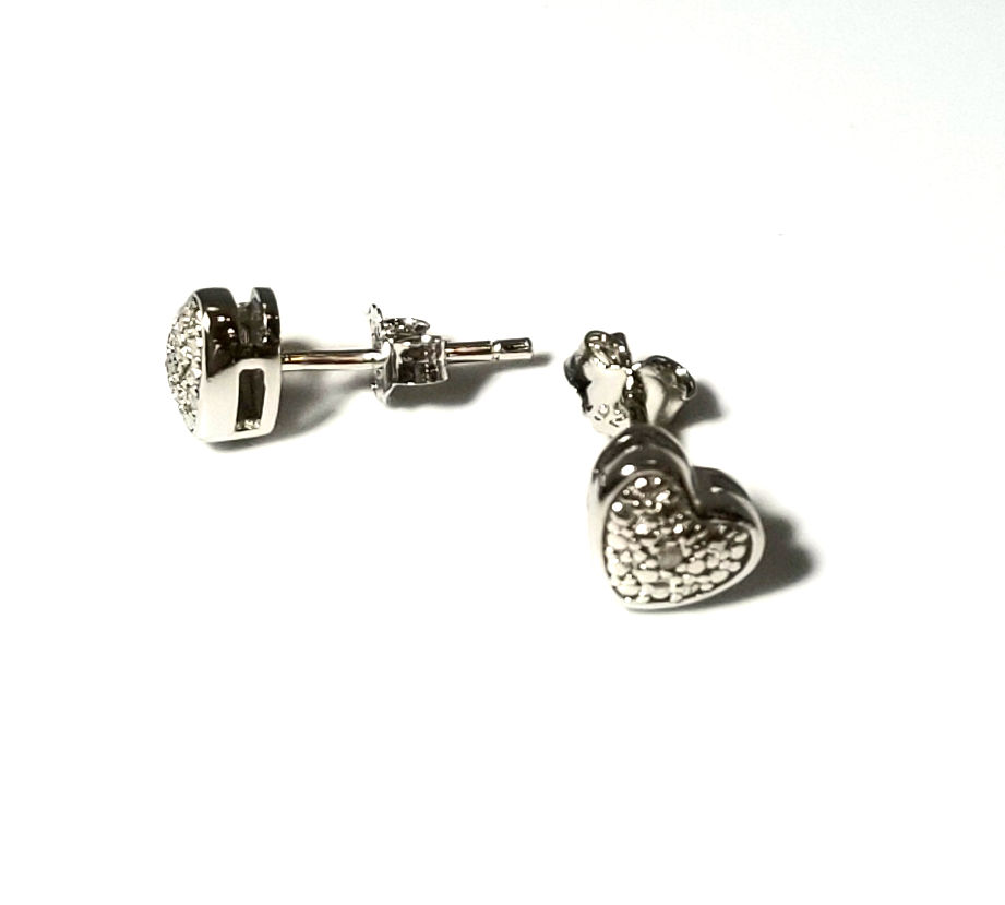 diamond accented sterling silver heart post earrings
