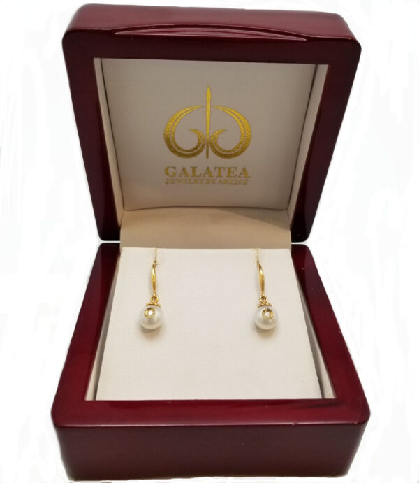 diamond in pearl 14K yellow gold drop earrings by Galatea Jewelry Artist