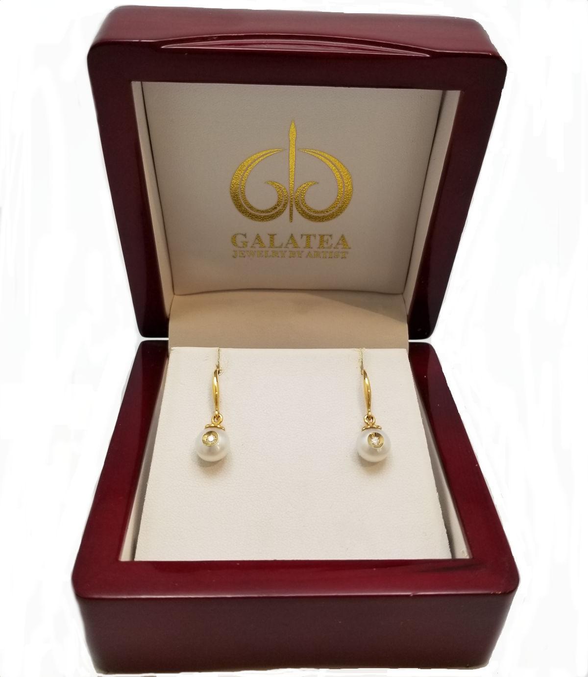 diamond in pearl 14K yellow gold drop earrings by Galatea Jewelry Artist