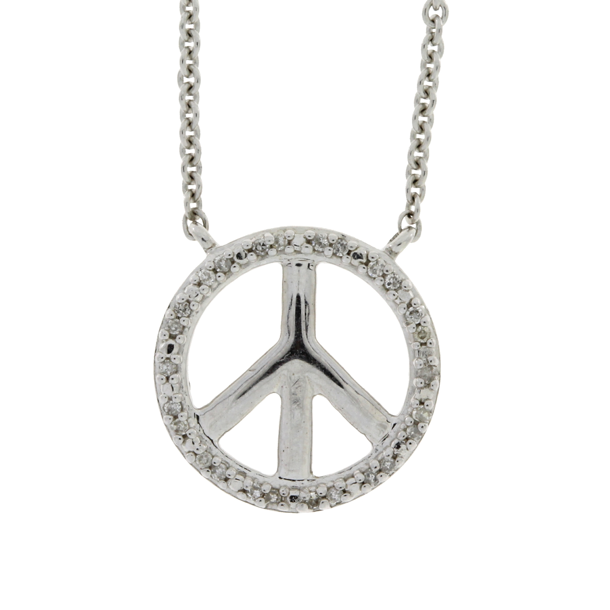 diamond and sterling silver peace sign necklace